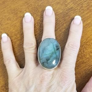 HUGE sterling labradorite ring